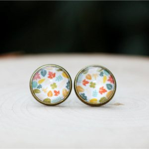 fall leaf stud earrings