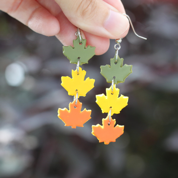 dancing leaves fall clay earrings