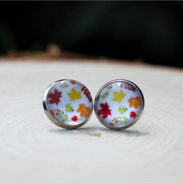 autumn leaf stud earrings
