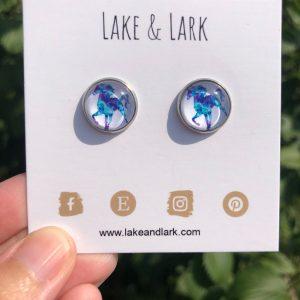 blue purple horse earrings