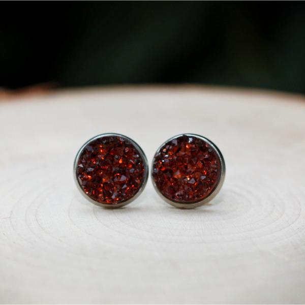 burgundy red stud earrings