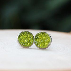 olive green druzy stud earrings
