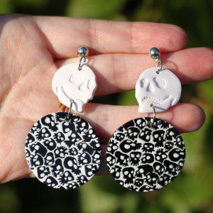 clay skull halloween earrings