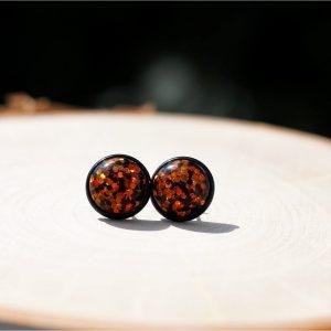 black orange glitter halloween earrings