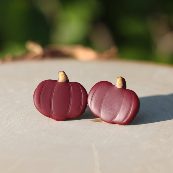 maroon fall pumpkin earrings