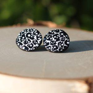 clay skull halloween stud earrings