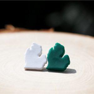 clay michigan stud earrings white green