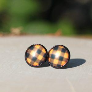 black orange buffalo plaid stud earrings