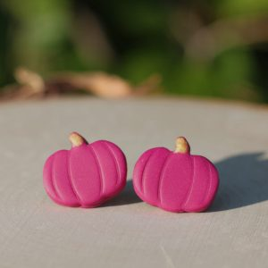 purple pumpkin clay earrings