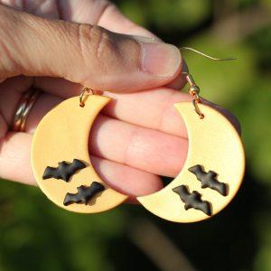 halloween moon earrings