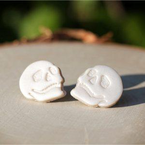 halloween skull clay stud earrings