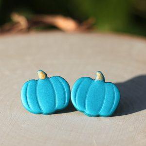 turquoise pumpkin fall earrings