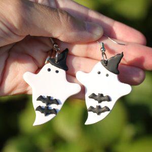 bat witch ghost halloween earrings